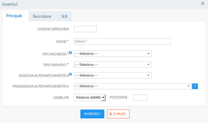 Form di inserimento/modifica di una categoria servizi